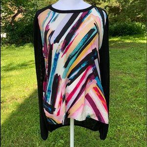 H&M Paint Design & Sheer Knit Accent sz M